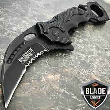 TACTICAL KARAMBIT CLAW Black Spring OPEN FOLDING Assisted Rescue Pocket Knife