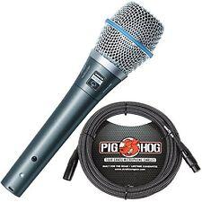 New Shure Beta 87A Condenser Vocal Microphone & Pig Hog 20ft Tour Grade Cable