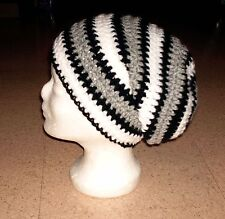 Beanie, Longbeanie in my boshi Style, selbstgehäkelt, schwarz-grau-weiß