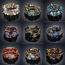 Boho Fashion natural crystal Multilayer Beads Stretch Charm Bracelet & Bangle