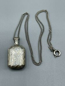 Vintage Hallmarked Sterling Silver Double Sided Patterned Locket And Chain
