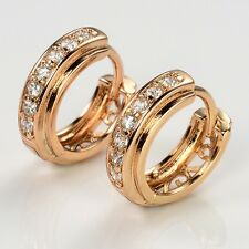 Lady Hot Luxury 18k Yellow Gold Filled Charm Earrings 15mm Hoops Wedding Jewelry