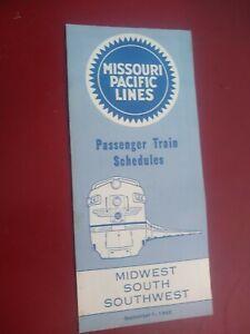 Three Missouri Pacific railroad timetables