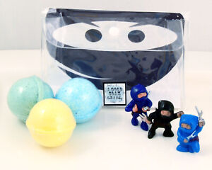 NEW Kids Trio Bath Bombs with NInja Bath Toys - Fresh Aromas Plus Color Therapy