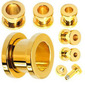 PAIR Gold Screw Fit Tunnels Ion Plated Steel Ear Plugs Earlets Guages Gauges
