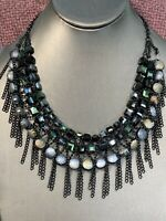 Vintage Black Grey Ab Crystal Chain Necklace Amazing Glass Beaded Bib Statement