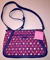 Vera Bradley Trimmed Trapeze Crossbody Bag Katalina Pink Diamonds NWT Retail $78