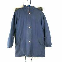 Hudson Place Womens Jacket Blue Zip Up Fur Trim Hooded Long Sleeve Pockets S