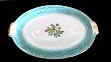 "Meito China Japan Wild Cherry 12"" Oval Platter Made in Occupied Japan Aqua Rim"