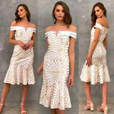 Gorgeous Off The Shoulder Sequins Formal Dress Wedding White With Gold Size 16