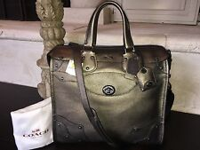 NWT COACH 33740 Rhyder 33 Large Satchel In BRASS Metallic Leather $650 Mint!