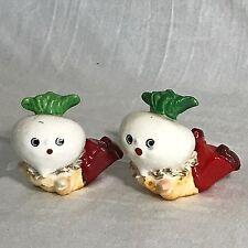 Vintage Anthropomorphic Onion Garlic Turnip Salt Pepper Shakers Japan