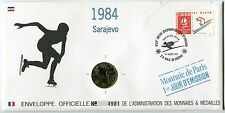 ENVELOPPE OFFICIELLE MONNAIE DE PARIS JO 1992 ALBERTVILLE 1984 SARAJEVO PATINAGE