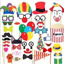 36PCS Photo Booth Props Circus Clown Masks Mustache On A Stick Birthday Party
