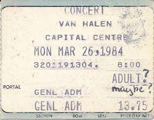 Van Halen Concert Ticket Stub Capital Center Landover Md March 26 1984
