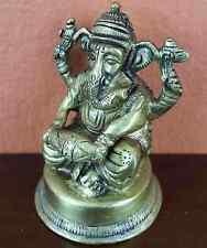 "Seated Lord Ganesha Antique Brass Statue 2.75"" High Brass Figurine Sculpture"