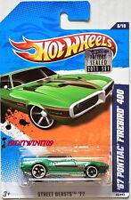 Hot Wheels 2011 Street Beasts '67 Pontiac Firebird 400 Verde Precinto de Fábrica
