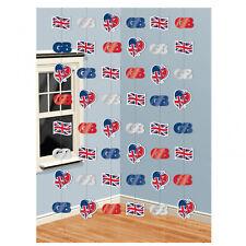 6 X Grande Bretagne Suspendu Corde Décorations Union Jack Gb Décoration de Fête
