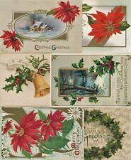 6 Stück Postkarten Lot ca. 1910 Weihnachten Christmas Postcard Präge Litho Ak
