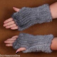 Women's Real Blue Mink Fur Fingerless Knitted Winter Elastic Gloves Mittens