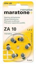 Renata ZA10 Maratone Zinc Air Hearing Aid Battery Batteries 1 Card Of 6 New
