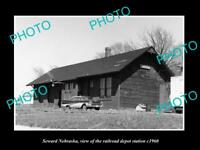 OLD LARGE HISTORIC PHOTO OF SEWARD NEBRASKA, THE RAILROAD DEPOT STATION c1960