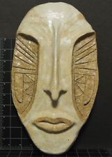 Ceramic Face Mask Tile Folk art style Hand Made Pottery African Alien Deco Craft