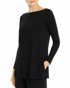 NEW Eileen Fisher Long Sleeve Boat Neck Side Slits Tunic in Black-Size S #T1131