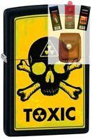 Zippo 28310 toxic skull & crossbones Lighter + FUEL FLINT WICK POUCH GIFT SET