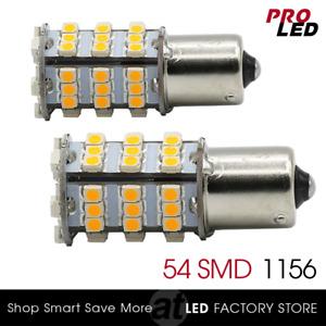 2X 1156 Amber Yellow LED light bulbs Turn Signal Blinker Corner 54-SMD