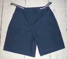 Sag Harbor Womens Navy Blue Shorts With 2 Front Adjustable Elastic Straps Size 8