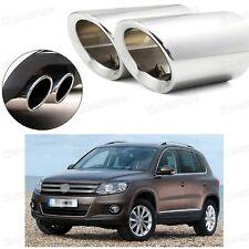 2Pcs Car Exhaust Muffler Tip Tail Pipe Trim Silver for VW Tiguan 2008-2016 #2030