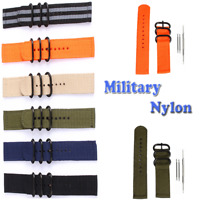 Unisex 22mm Stainless Steel Buckle Military Nylon Wrist Band Strap For Watch