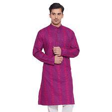 Men Full Sleeve Designer Indian Cotton Long Kurta Casual Wear Printed K 1375