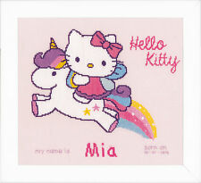 Kitty et licorne: birth record: vervaco counted cross stitch kit-PN0156716