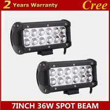 2PCS CREE 7inch 36W LED Light Bar Work Offroad lamp Tractor Boat UTE Spotlights