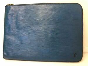 Auth Louis Vuitton Epi Poche Documents Blue Rare Clutch Handbag Purse Pouch case