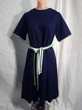 "Vintage 1960s - Blue Dress by ""Tribute"" w/ Rope Belt and rear zipper - EMO MOD"