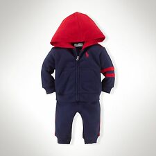 New Baby Boys Ralph Lauren Cotton Hoodie&Pant Set-Size: 9 Monhts