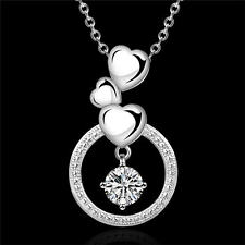 WOMEN lady Silver Fashion 925 cute Charm Austrian crystal Wedding Necklace N691