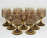 """VINTAGE SMOKED AMBER LIBBEY TAWNY 5 1/4""""  WINE GLASS GOBLETS SET OF 9"""