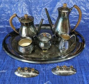 GORHAM Silverplate 9pc Tea Service Set Modern American Waste Bowl Creamer Sugar