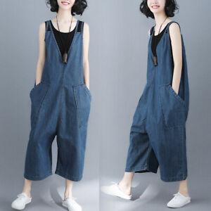 Womens Casual Denim Overalls Bib Pants Wide Leg Jumpsuits Jeans Loose Trousers