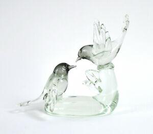 Italian Art Glass Sculpture Livio Seguso Murano Two-Tone Birds signed