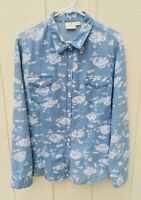Tribal Jeans Long-Sleeve Womens XL Blue & White Floral Blouse Shirt with Snaps