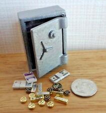 Dollhouse Miniature Metal Safe & Contents bars coin & stacks of cash 1:12 scale