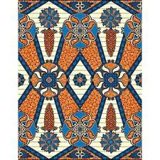African Fabric, Blue & Orange Adinkra, Dutch Wax 100% Cotton, UK Import, 6 Yds