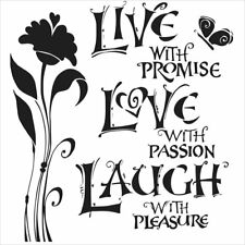 """6"""" x 6"""" Crafter's Workshop Painting Stencil Template ~ LIVE, LOVE & LAUGH"""