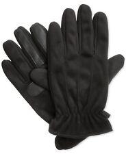 $95 Isotoner Men'S Black Smartouch Leather Warm Plush Casual Winter Gloves L
