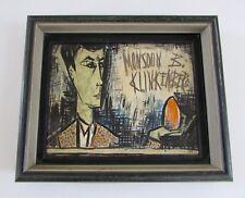 Mid Century M. B. Klinkenberg Portrait Painting in style of Bernard Buffet